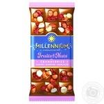 Шоколад молочный Millennium Fruits&Nuts с миндалем, цельными лесными орехами, клюквой и изюмом 80г