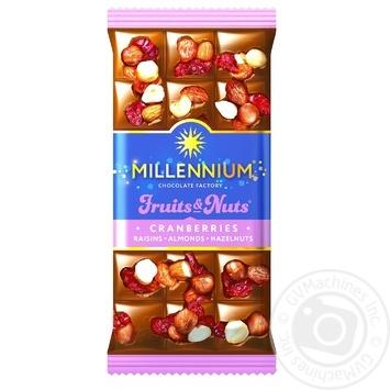 Шоколад молочный Millennium Fruits&Nuts с миндалем, цельными лесными орехами, клюквой и изюмом 80г - купить, цены на Метро - фото 1