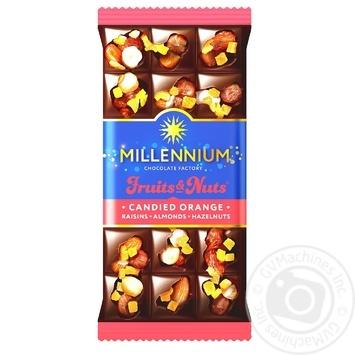 Шоколад чорний Millennium Fruits&Nuts з мигдалем, цілими лісовими горіхами, апельсиновими цукатами та родзинками 80г