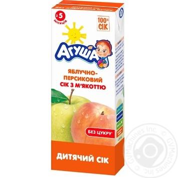 Сок Агуша яблочно-персиковый с мякотью детский восстановленный гомогенизированный стерилизованный обогащенный витаминами и минеральными веществами с 5 месяцев 200мл