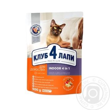 Корм Клуб 4 лапы Премиум полнорационный 4в1 для взрослых кошек 900г - купить, цены на Novus - фото 1