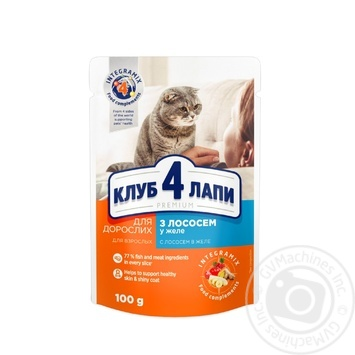 Club 4 Paws Premium canned pet food for adult cats With salmon in jelly 100g - buy, prices for Novus - image 1