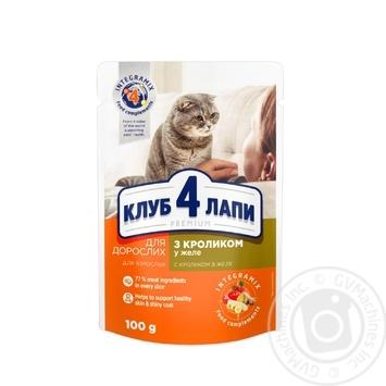 Корм Club 4 Paws Премиум для взрослых кошек C кроликом в желе 100г