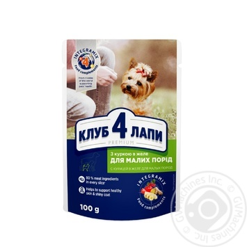 Club 4 Paws Premium canned pet food for adult dogs With chicken in jelly 100g
