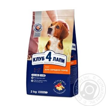 Корм сухой Club 4 Paws Премиум для взрослых собак средних пород 2кг