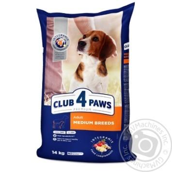Корм сухой Club 4 Paws Премиум для взрослых собак средних пород 14кг