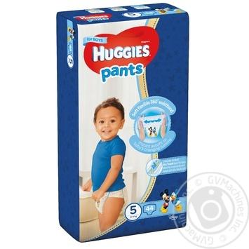 Трусики-подгузники Huggies Pants 5 для мальчиков 12-17кг 44шт - купить, цены на Ашан - фото 1