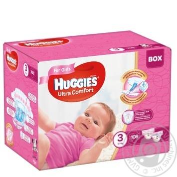Подгузники Huggies Ultra Comfort для девочек 3 5-9кг 108шт