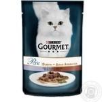 Корм GOURMET Perle Duo З телятиною та качкою для дорослих котів 85г