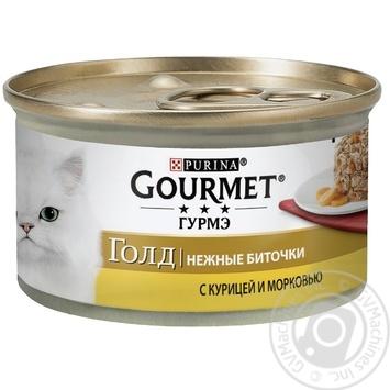 Корм GOURMET Gold Нежные биточки С курицей и морковью для взрослых кошек 85г - купить, цены на Novus - фото 1