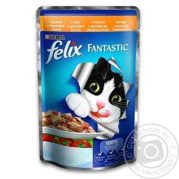 Корм Felix Fantastic С курицей и томатами в желе для взрослых котов 100г