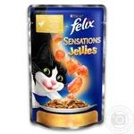 Корм Felix Sensations Jellies С курицей в желе с морковью для взрослых котов 100г