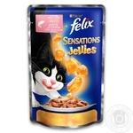 Корм Felix Sensations Jellies С лососем в желе с треской для взрослых котов 100г