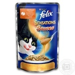 Корм для взрослых котов Felix Sensations Sauces индейка в соусе с беконом 100г