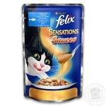 Корм для взрослых котов Felix Sensations Sauces сайда в соусе с томатами 100г
