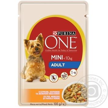 Корм Purina ONE MINI Adult С курицей, морковью и зеленой фасолью для собак мелких пород 100г