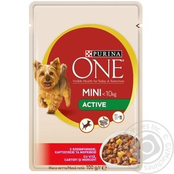 Корм Purina ONE MINI С говядиной, картошкой и морковью в подливке для активных собак мелких пород 100г - купить, цены на Фуршет - фото 1