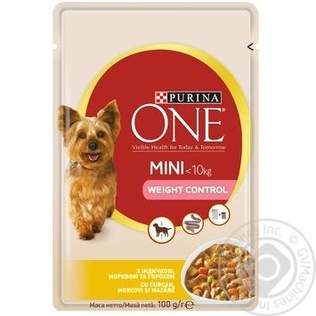 Корм Purina ONE MINI Здоровый Вес С индейкой, морковью и горохом для контроля веса собак мелких пород 100г - купить, цены на Метро - фото 1