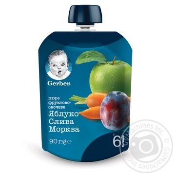 Пюре Gerber яблоко слива морковь 90г