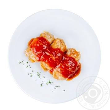 Голубцы с мясом и рисом под соусом