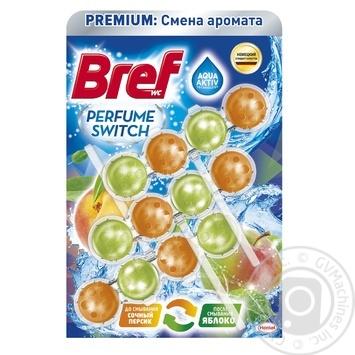 Туалетные блоки для унитаза Bref Смена аромата Персик-Яблоко Триопак 150г