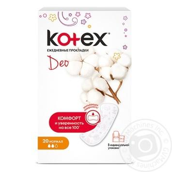 Прокладки ежедневные Kotex Deo Normal 20шт - купить, цены на Ашан - фото 1