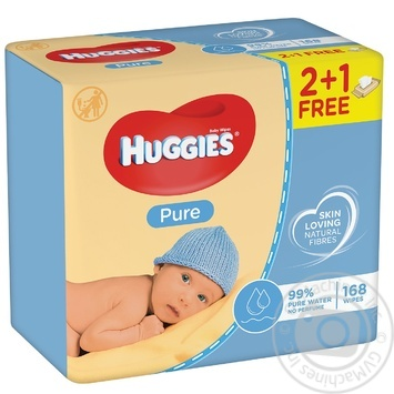 Huggies Pure Baby Wet Wipes 3*56pcs - buy, prices for MegaMarket - image 1