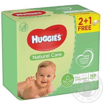 Салфетки детские Huggies Natural Care 2+1 3*56шт - купить, цены на МегаМаркет - фото 1