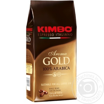 Kimbo Aroma Gold 100% Arabica Whole Beans Coffee 250g - buy, prices for MegaMarket - image 1