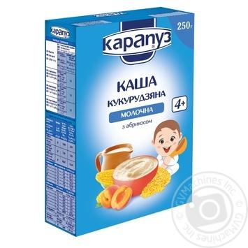 Каша детская Карапуз кукурузная молочная с абрикосом сухая быстрорастворимая с 4 месяцев 250г - купить, цены на Ашан - фото 1
