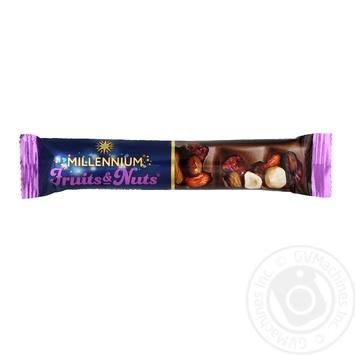Шоколад молочный Millennium Fruits&Nuts с миндалем, целыми лесными орехами, клюквой и изюмом 35г