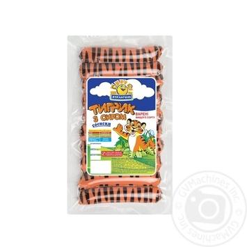 Сосиски Ятрань Тигрик с сыром вареные высший сорт 770г
