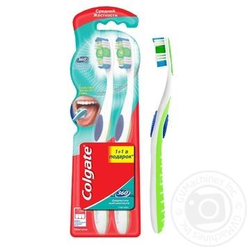Зубная щетка Colgate 360 Суперчистота всей полости рта  средней жесткости промоупаковка 1+1 - купить, цены на Ашан - фото 3