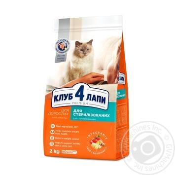 Корм Клуб 4 лапы Премиум сухой полнорационный для взрослых стерилизованных кошек 2кг