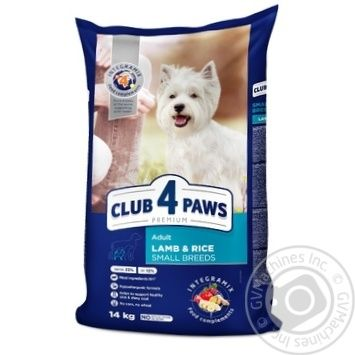 Корм для собак Club 4 Paws ягненок-рис сухой 14кг