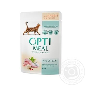 Скидка на Корм Optimeal для взрослых кошек с кроликом в белом соусе 85г