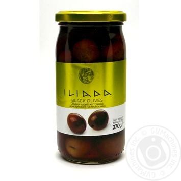 Оливки чорні з кісточкою консервовані с/б Iliada 370г