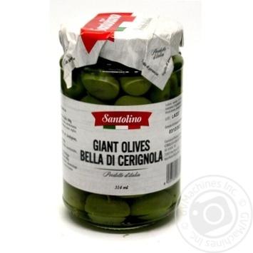 Оливки зелені великі з кісточкою сорту Bella di Cerignola в розсолі пастеризовані Santolino с/б 314мл