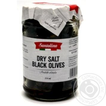 Оливки чорні з кісточкою в'ялені Santolino с/б 314мл