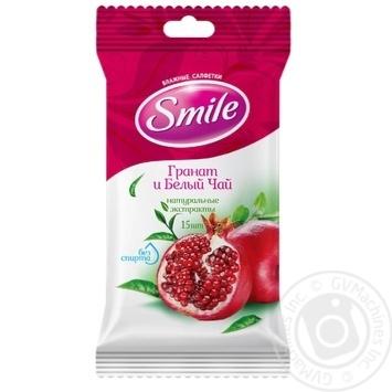 Салфетки влажные Smile Гранат и белый чай 15шт - купить, цены на Novus - фото 1
