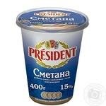 Сметана Президент 15% 400г - купить, цены на Фуршет - фото 1
