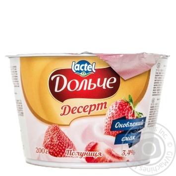 Десерт Lactel Дольче клубника 3,4% 200г - купить, цены на МегаМаркет - фото 1