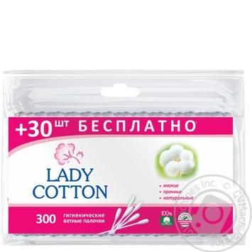Палочки ватные Lady Cotton в полиэтиленовом пакете 300шт - купить, цены на МегаМаркет - фото 1