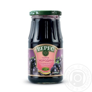 Veres blackcurrant chopped with sugar jam 600g
