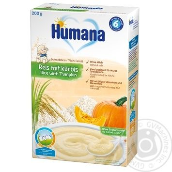 Humana for children with pumpkin dairy-free rice porrige 200g - buy, prices for Novus - image 1
