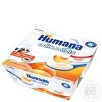 Продукт кисломолочний Humana с персиком и натуральными пребиотиками с 6 месяцев 4*100г