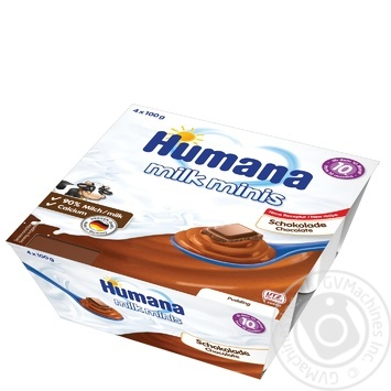 Pudding Humana chocolate for 10+ month babies 3.3% plastic cup 4х100g - buy, prices for Novus - image 1