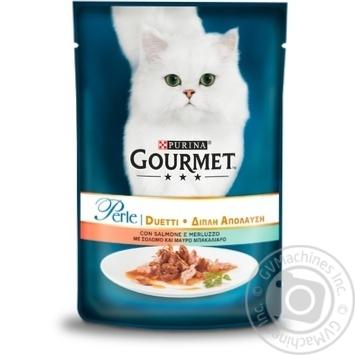 Корм для взрослых котов GOURMET PERLE DUO консервированный мини филе в подливке С лососем и сайдой 85г - купить, цены на Таврия В - фото 1