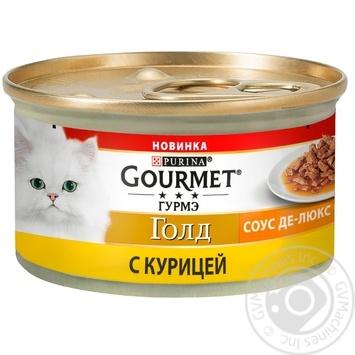 Корм GOURMET Gold Соус Де-люкс С курицей для взрослых кошек 85г - купить, цены на Novus - фото 1