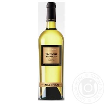 Вино белое Инкерман Шардоне Качинское ординарное выдержанное столовое сортовое сухое 12% 750мл